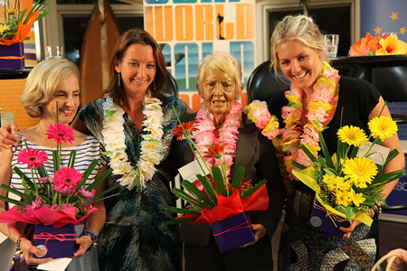 "Divas of Surfing – Kathy ""Gidget"" Kohner Zuckerman, Layne Beachley, Phyllis O'Donell and Stephanie Gilmore"