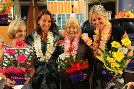 "The Divas of Surfing – Kathy ""Gidget"" Kohner Zuckerman, Layne Beachley, Phyllis O'Donell and Stephanie Gilmore"